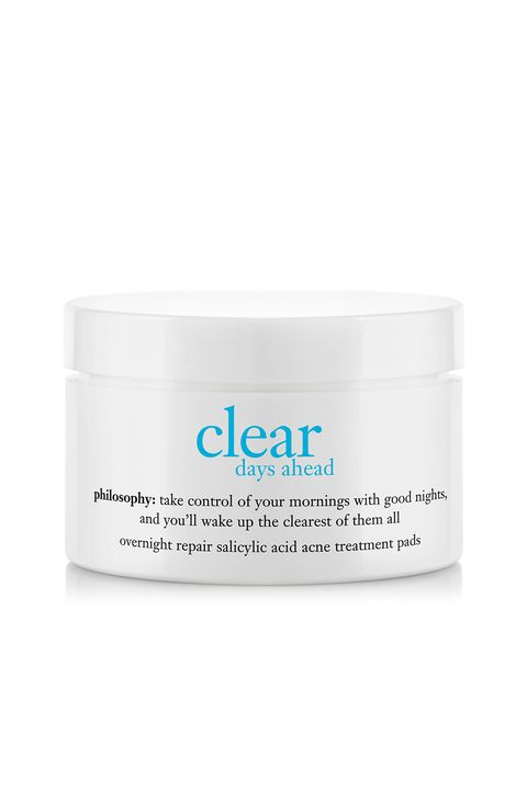 "<p>If your skin tends to itch and shrivel at the slightest mention of acne treatments, these 0.5-percent salicylic acid pads are for you. And don't be put off by the low percentage—they're also formulated with skin-clearing mandelic acid and glycolic acid for a triple acne-killing boost.</p><p><i data-redactor-tag=""i"">Philosophy Clear Days Ahead Overnight Repair Treatment Pads, $42</i></p><p><strong data-redactor-tag=""strong"">BUY IT:&nbsp;<a href=""http://www.sephora.com/clear-days-ahead-overnight-repair-salicylic-acid-acne-treatment-pads-P312003?"">sephora.com</a>.&nbsp;</strong></p>"