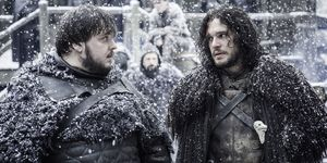 Jon Snow and Samwell Tarly on Game of Thrones