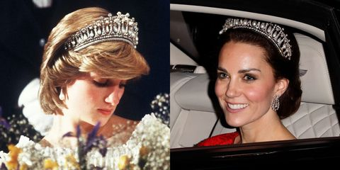 "<p>Most commonly associated with Princess Diana, the <a href=""http://www.telegraph.co.uk/news/uknews/kate-middleton/12040776/Duchess-of-Cambridge-wears-Princess-Dianas-favourite-tiara-to-diplomatic-reception-at-Buckingham-Palace.html"" target=""_blank"" data-tracking-id=""recirc-text-link"">tiara</a> was made for Queen Mary in the early 1900s before being passed to Queen Elizabeth. She gave it to Princess Diana as a wedding gift, and it's also been seen on Kate Middleton.</p>"