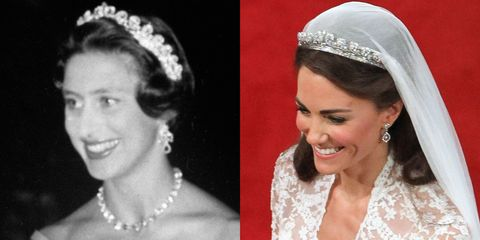 "<p>This tiara was made by Cartier in 1936, and given to the Queen Mother by her husband before their wedding. The Queen Mother gifted Queen Elizabeth II the tiara on her 18th birthday, and its since been worn by Princess Margaret (left) and Kate Middleton—who famously wore it during her wedding to Prince William. The tiara is said to <a href=""https://www.royalcollection.org.uk/microsites/royalweddingdress/MicroObject.asp?row=4&themeid=2444&item=4"" target=""_blank"" data-tracking-id=""recirc-text-link"">feature</a> ""739 brilliants and 149 baton diamonds<span class=""redactor-invisible-space"" data-verified=""redactor"" data-redactor-tag=""span"" data-redactor-class=""redactor-invisible-space"">.""</span></p>"