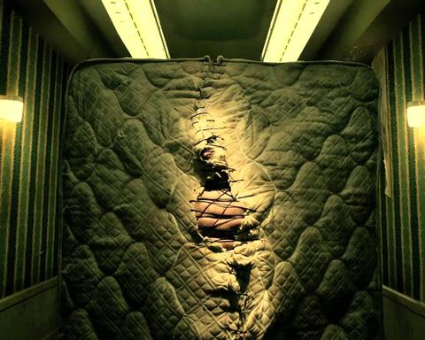 <p>Of course a scary-ass story is incomplete without a few naive suckers. Enter: the poor, poor tourists who decided to check into the hotel. The couple is greeted and attacked by a terrifying monster that lives in their mattress. </p>