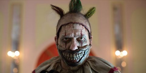 <p>Twisty, the mouthless, nightmare-inducing clown, approaches a sweet, naive couple in a park for hands down the most terrifying scene of the series. Twisty picks up a juggling pin and proceeds to beat the boy to a bloody pulp. </p>