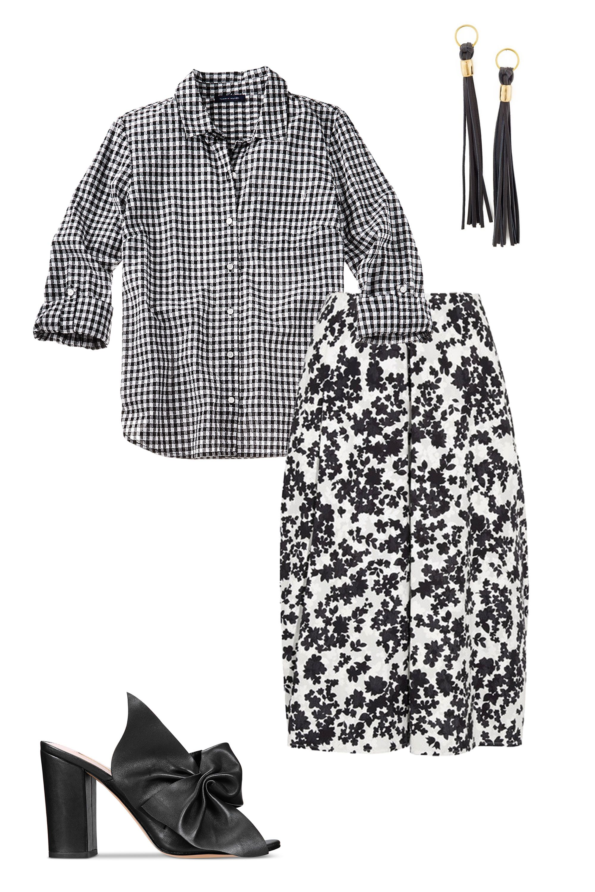 "<p>The standard pencil-skirt-and-button-down combo is taken up a notch thanks to a melange of pattern and print. The key to keeping it polished? A black-and-white palette and architectural leather accessories.</p><p><strong data-verified=""redactor"" data-redactor-tag=""strong"">BUY IT:</strong><span class=""redactor-invisible-space"" data-verified=""redactor"" data-redactor-tag=""span"" data-redactor-class=""redactor-invisible-space""> Tommy Hilfiger shirt, $60; <a href=""https://www.macys.com/shop/product/tommy-hilfiger-cotton-houndstooth-utility-shirt-created-for-macys?ID=4939995&CategoryID=255&cm_mmc=carat_dis-_-sep2_nopro_auth_rtw_ffash_tentpole_display_w7080033_11696-_-1339154-_-09052017_10052017"" target=""_blank"" data-tracking-id=""recirc-text-link"">macys.com</a>. Jill Sander skirt, $960; <a href=""https://www.net-a-porter.com/us/en/product/884130/Jil_Sander/floral-print-cotton-poplin-midi-skirt"" target=""_blank"" data-tracking-id=""recirc-text-link"">net-a-porter.com</a>. Pamela Love earrings, $240; <a href=""https://www.shopbop.com/ximena-earrings-pamela-love/vp/v=1/1528174179.htm"" target=""_blank"" data-tracking-id=""recirc-text-link"">shopbop.com</a>. Avec Les Filles slide, $178; <a href=""https://www.macys.com/shop/product/avec-les-filles-marie-bow-block-heel-slides?ID=4398935&CategoryID=13247&cm_mmc=carat_dis-_-sep2_nopro_auth_rtw_ffash_tentpole_display_w7080033_11696-_-1339154-_-09052017_10052017"" target=""_blank"" data-tracking-id=""recirc-text-link"">macys.com</a></span><br></p>"