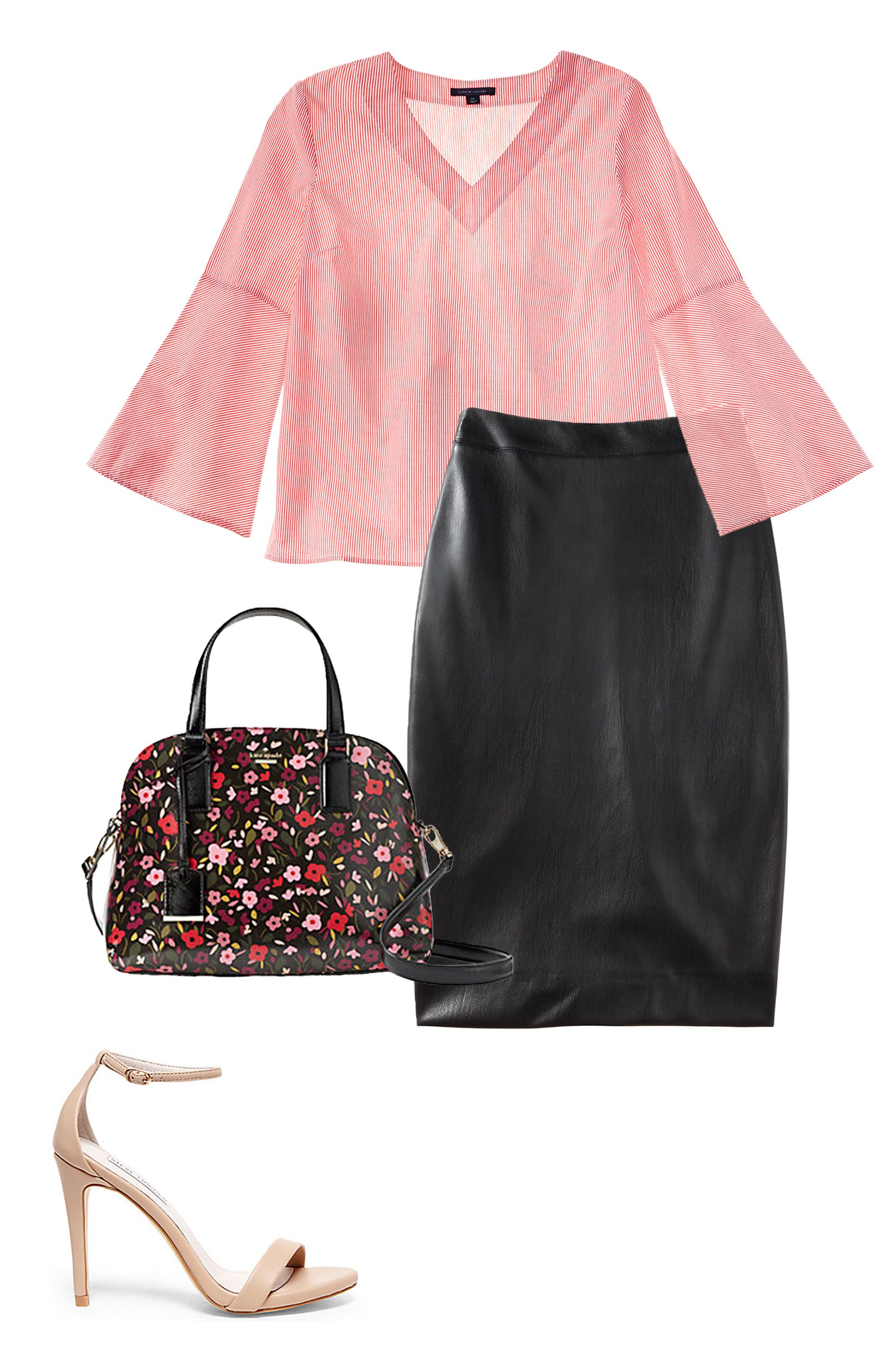 "<p>A leather skirt can sometimes feel a bit too biker to be professional, but shades of pink and floral prints instantly make the vibe a whole lot sweeter. Stick to straightforward silhouettes to keep it from looking overly prim.  <br> </p><p><strong data-redactor-tag=""strong"">BUY IT: </strong><span class=""redactor-invisible-space"" data-verified=""redactor"" data-redactor-tag=""span"" data-redactor-class=""redactor-invisible-space"">Tommy Hilfiger top, $70; <a href=""https://www.macys.com/shop/product/tommy-hilfiger-cotton-bell-sleeve-top-created-for-macys?ID=4939999&CategoryID=255&cm_mmc=carat_dis-_-sep2_nopro_auth_rtw_ffash_tentpole_display_w7080033_11696-_-1339154-_-09052017_10052017"" target=""_blank"" data-tracking-id=""recirc-text-link"">macys.com</a>. DKNY skirt, $99; <a href=""https://www.macys.com/shop/product/dkny-faux-leather-pencil-skirt?ID=4945259&cm_mmc=carat_dis-_-sep2_nopro_auth_rtw_ffash_tentpole_display_w7080033_11696-_-1339154-_-09052017_10052017&EFCKEY=%7B%22EXPERIMENT%22%3A%5B%222525%22%2C%2228-21%22%5D%7D&SEED=-3534518938452487705%7C25-20%2C31-20"" target=""_blank"" data-tracking-id=""recirc-text-link"">macys.com</a>. Steve Madden shoe, $80; <a href=""http://www.stevemadden.com/product/STECY/163825.uts?selectedColor=NATURAL"" target=""_blank"" data-tracking-id=""recirc-text-link"">stevemadden.com</a>. Kate Spade bag, $328; <a href=""https://www.katespade.com/products/cameron-street-boho-floral-lottie/PXRU8207.html?cgid=ks-handbags-view-all&dwvar_PXRU8207_color=098#start=40&cgid=ks-handbags-view-all"" target=""_blank"" data-tracking-id=""recirc-text-link"">katespade.com</a></span></p>"