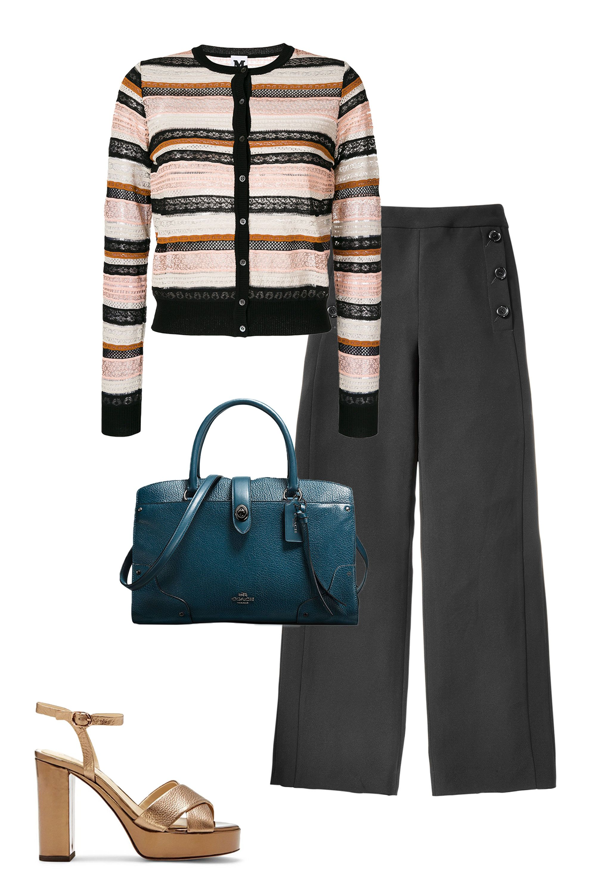 "<p>The right pair of black pants are anything but boring; choose a pair with an updated, wide-leg silhouette and oversized buttons to keep things fresh. When topped with a textural striped cardigan and luxe leather accessories in unexpected colors, the result is <em data-redactor-tag=""em"" data-verified=""redactor"">definitely</em><span class=""redactor-invisible-space"" data-verified=""redactor"" data-redactor-tag=""span"" data-redactor-class=""redactor-invisible-space""> not</span> blah.</p><p><strong data-redactor-tag=""strong"" data-verified=""redactor"">BUY IT:</strong><span class=""redactor-invisible-space"" data-verified=""redactor"" data-redactor-tag=""span"" data-redactor-class=""redactor-invisible-space""> M Missoni cardigan, $436; <a href=""https://www.farfetch.com/shopping/women/m-missoni-striped-cardigan-item-12263266.aspx?storeid=9442&from=listing&tglmdl=1"" target=""_blank"" data-tracking-id=""recirc-text-link"">farfetch.com</a>. DKNY pants, $49; <a href=""https://www.macys.com/shop/product/dkny-crepe-wide-leg-pants?ID=4945307&cm_mmc=carat_dis-_-sep2_nopro_auth_rtw_ffash_tentpole_display_w7080033_11696-_-1339154-_-09052017_10052017"" target=""_blank"" data-tracking-id=""recirc-text-link"">macys.com</a>. Vince Camuto sandal, $160; <a href=""http://www.vincecamuto.com/imagine-vince-camuto-valora2-%E2%80%93-metallic-platform-sandal/IM-VALORA2.html"" target=""_blank"" data-tracking-id=""recirc-text-link"">vincecamuto.com</a>; Coach satchel, $395; <a href=""https://www.macys.com/shop/product/coach-mercer-satchel-30-in-mixed-leather-with-whiplash-detail?ID=4552237&CategoryID=46013#fn=BRAND=COACH&sp=1&spc=30&ruleId=105%7CBS&slotId=28"" target=""_blank"" data-tracking-id=""recirc-text-link"">macys.com</a></span></p>"
