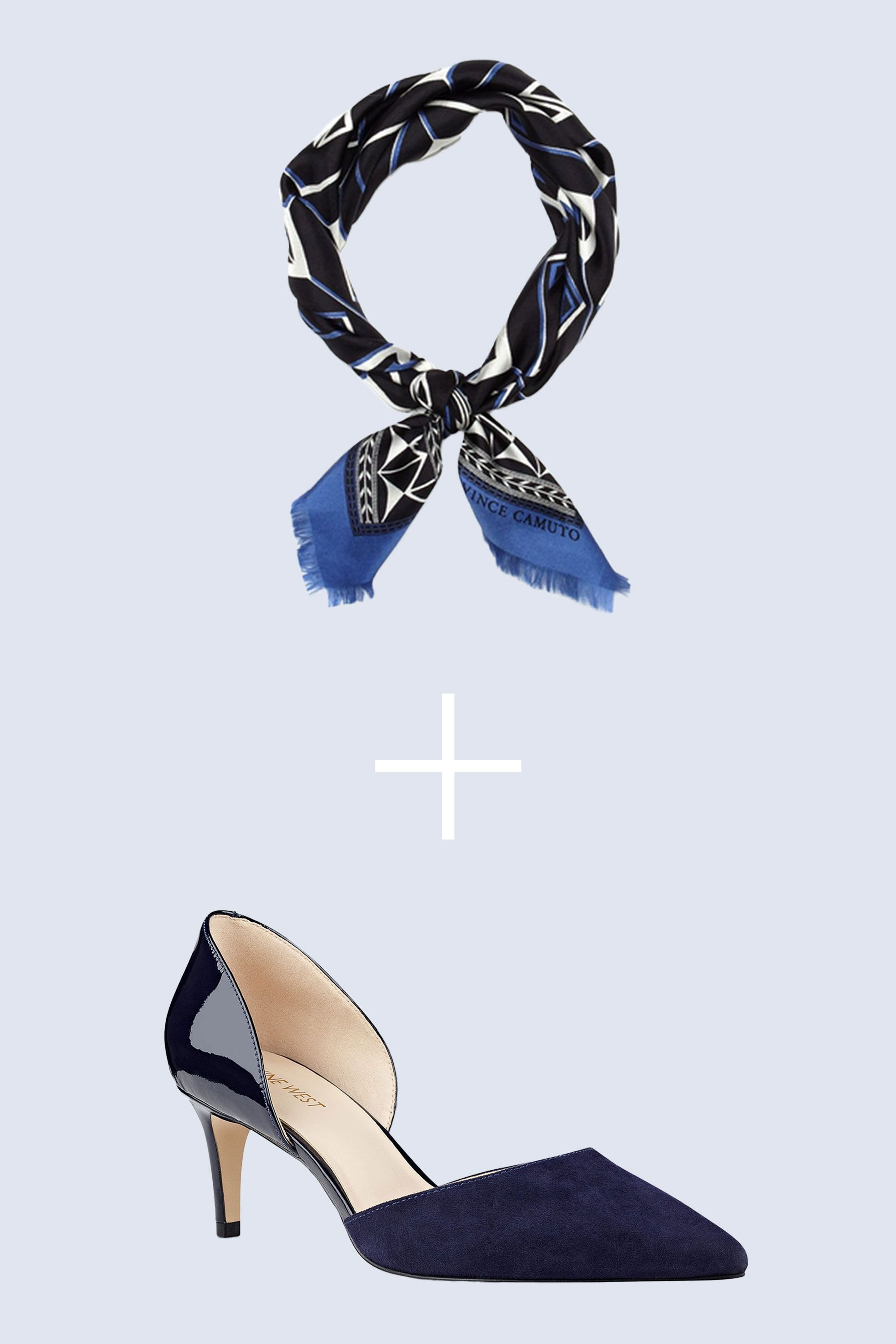 """<p>Every work wardrobe needs a great pump. This double-textured version, with its pointed toe and walkable heel, is as easy to wear as it is sleek. A silky blue scarf (in place of a necklace) lets your inner Parisian-stylealter-ego shine. </p><p><strong data-redactor-tag=""""strong"""">BUY IT: </strong><span class=""""redactor-invisible-space"""" data-verified=""""redactor"""" data-redactor-tag=""""span"""" data-redactor-class=""""redactor-invisible-space"""">Vince Camuto bandana, $38; <a href=""""http://www.vincecamuto.com/vince-camuto-zanzibar-print-bandana/051059424736.html"""" target=""""_blank"""" data-tracking-id=""""recirc-text-link"""">vincecamuto.com</a>. Nine West pumps, $50; <a href=""""http://www.ninewest.com/Solis-Pointy-Toe-d%27Orsay-Pumps/23969159,default,pd.html?variantColor=JJPO3A2&q=solis%20pumps"""" target=""""_blank"""" data-tracking-id=""""recirc-text-link"""">ninewest.com</a></span><br></p>"""
