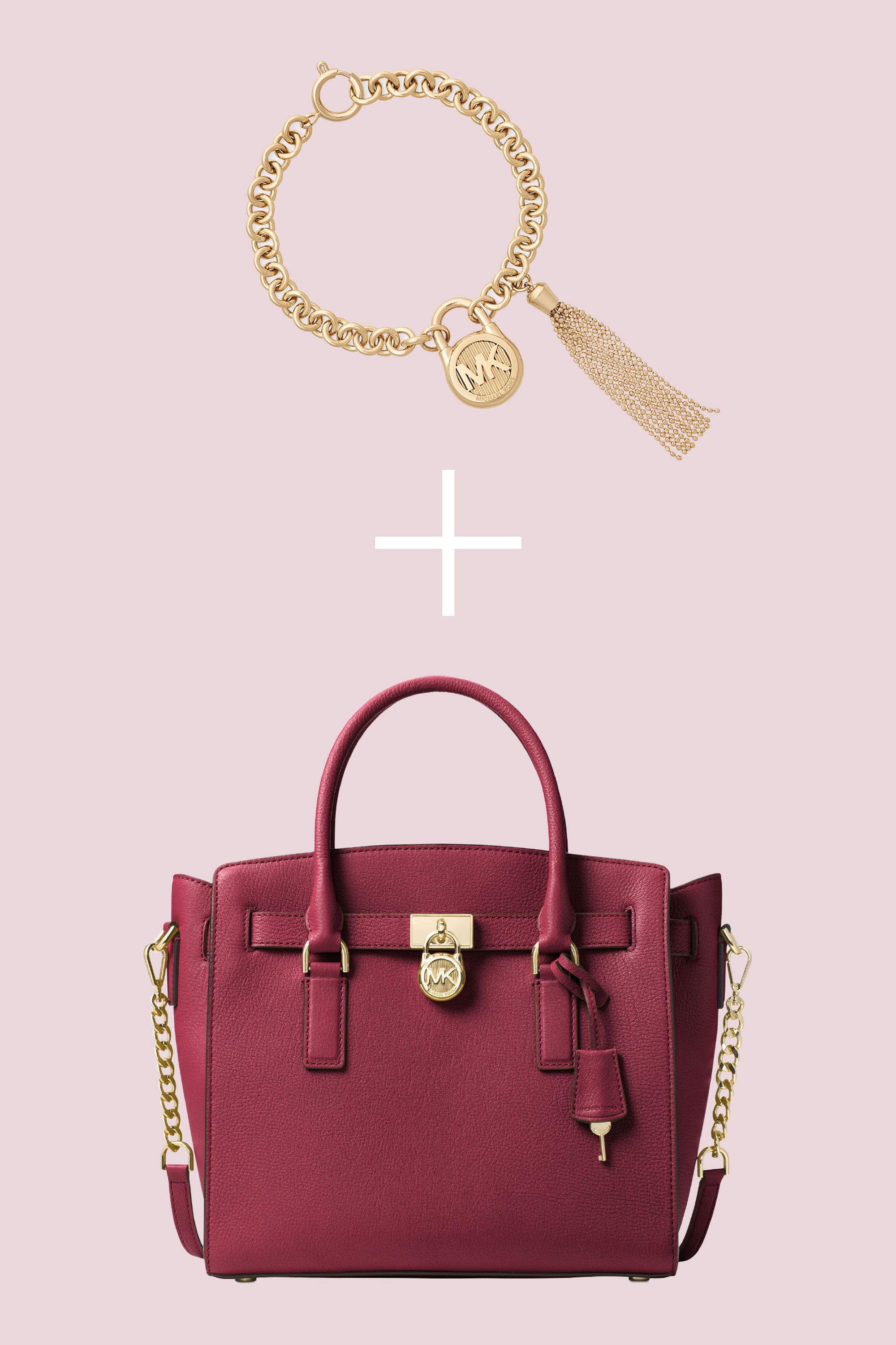 """<p>Bold accessories are the key to making every outfit a knock-out—just be sure to choose pieces that won't compete with one another. The scale of a gold-tone bracelet with a pretty tassel complements the size of a large carryall perfectly. </p><p><strong data-redactor-tag=""""strong"""">BUY IT: </strong><span class=""""redactor-invisible-space"""" data-verified=""""redactor"""" data-redactor-tag=""""span"""" data-redactor-class=""""redactor-invisible-space"""">Michael Kors bracelet, $95; <a href=""""https://www.macys.com/shop/product/michael-kors-logo-padlock-chain-tassel-link-bracelet?ID=4847070&CategoryID=55285&cm_mmc=carat_dis-_-sep2_nopro_auth_rtw_ffash_tentpole_display_w7080033_11696-_-1339154-_-09052017_10052017"""" target=""""_blank"""" data-tracking-id=""""recirc-text-link"""">macys.com</a>. MICHAEL Michael Kors satchel, $298; <a href=""""https://www.macys.com/shop/product/michael-michael-kors-studio-hamilton-large-east-west-satchel?ID=4338158&cm_mmc=carat_dis-_-sep2_nopro_auth_rtw_ffash_tentpole_display_w7080033_11696-_-1339154-_-09052017_10052017"""" target=""""_blank"""" data-tracking-id=""""recirc-text-link"""">macys.com</a></span><br></p>"""
