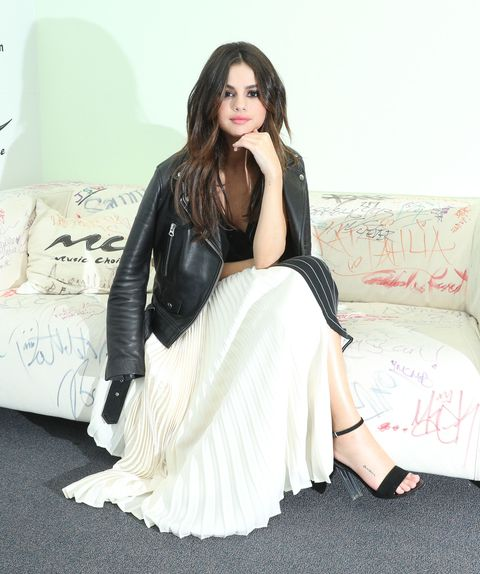 Clothing, White, Fashion, Beauty, Dress, Photo shoot, Pink, Sitting, Leg, Leather,