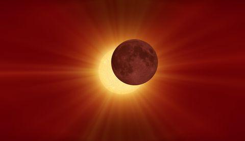Sky, Red, Celestial event, Atmosphere, Astronomical object, Orange, Atmospheric phenomenon, Daytime, Moon, Yellow,