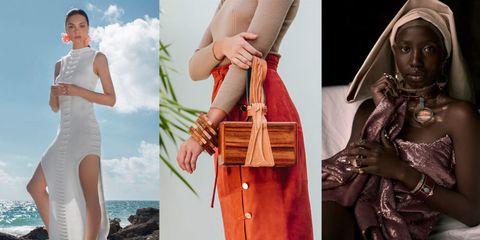 Clothing, Dress, Fashion, Beauty, Fashion accessory, Textile, Photography, Hand, Fashion model, Handbag,
