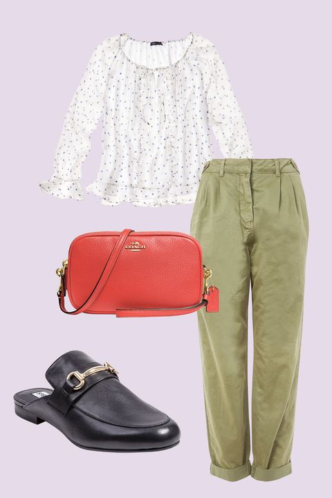 "<p>Temper the sweetness of a gauzy, ruffled top by pairing it with rugged, khaki-colored, boyfriend-fit pants and a sturdy slip-on mule. A cross body bag in a vivid hue keeps things carefree—just the way the weekend should be. </p><p><strong data-redactor-tag=""strong"" data-verified=""redactor"">BUY IT: </strong>Tommy Hilfiger top, $70; <a href=""https://www.macys.com/shop/product/tommy-hilfiger-ruffle-sleeve-top-created-for-macys?ID=4939981&amp;CategoryID=37281&amp;selectedSize=&amp;cm_mmc=carat_dis-_-sep2_nopro_auth_rtw_ffash_tentpole_display_w7080033_11696-_-1339154-_-09052017_10052017"" target=""_blank"" data-tracking-id=""recirc-text-link"">macys.com</a>. Topshop trousers, $75; <a href=""http://us.topshop.com/en/tsus/product/new-in-this-week-2169940/new-in-fashion-6367520/tab-side-utility-trouser-6824231?bi=40&amp;ps=20"" target=""_blank"" data-tracking-id=""recirc-text-link"">topshop.com</a>. Steve Madden mule, $79; <a href=""https://www.macys.com/shop/product/steve-madden-womens-kandi-slip-on-tailored-mules?ID=4624288&amp;CategoryID=50295&amp;swatchColor=Black%20Leather%20Multi&amp;cm_mmc=carat_dis-_-sep2_nopro_auth_rtw_ffash_tentpole_display_w7080033_11696-_-1339154-_-09052017_10052017"" target=""_blank"" data-tracking-id=""recirc-text-link"">macys.com</a>. Coach clutch, $165; <a href=""https://www.macys.com/shop/product/coach-crossbody-clutch-in-pebble-leather?ID=4890522&amp;CategoryID=25300&amp;selectedSize=#fn=HANDBAG_STYLE%3DCrossbody%26sp%3D1%26spc%3D36%26ruleId%3D78
