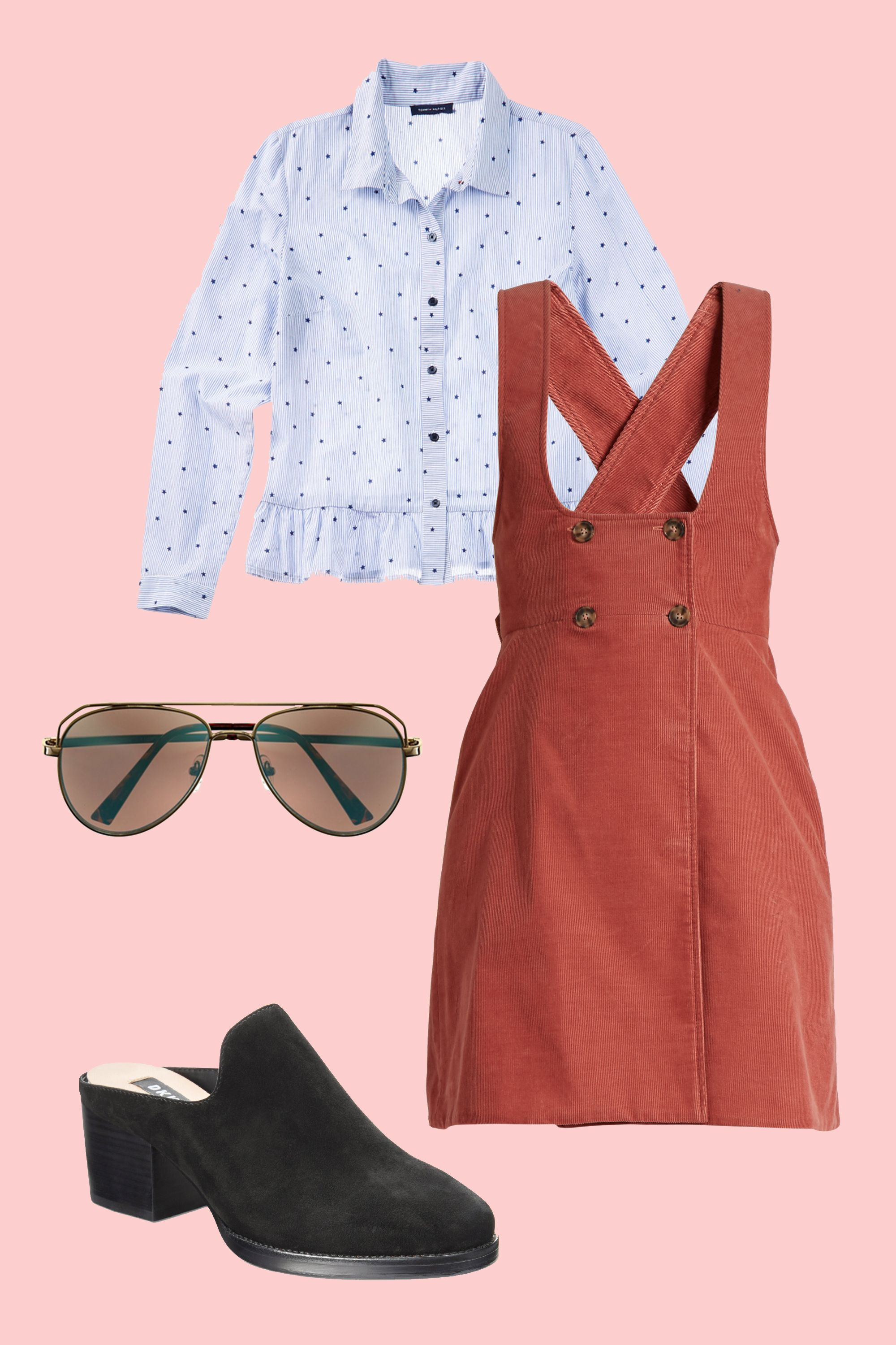 "<p>A corduroy pinafore looks all grown up layered over a collared shirt and paired with suede block heels. Tinted aviator shades complete the nostalgic vibe <em data-redactor-tag=""em"" data-verified=""redactor"">and</em> complement the dress's earthy hue. </p><p><strong data-redactor-tag=""strong"">BUY IT:</strong> Tommy Hilfiger shirt, $70; <a href=""https://www.macys.com/shop/product/tommy-hilfiger-cotton-ruffled-shirt-created-for-macys?ID=4842064&cm_mmc=carat_dis-_-sep2_nopro_auth_rtw_ffash_tentpole_display_w7080033_11696-_-1339154-_-09052017_10052017"" target=""_blank"" data-tracking-id=""recirc-text-link"">macys.com</a>. Alexa Chung dress, $406; <a href=""http://www.matchesfashion.com/products/Alexachung-Double-breasted-cotton-corduroy-pinafore-dress-1154094"" target=""_blank"" data-tracking-id=""recirc-text-link"">matchesfashion.com</a>. DKNY mule, $140; <a href=""https://www.macys.com/shop/product/dkny-times-mules-created-for-macys?ID=4842009&CategoryID=13247&swatchColor=Black&cm_mmc=carat_dis-_-sep2_nopro_auth_rtw_ffash_tentpole_display_w7080033_11696-_-1339154-_-09052017_10052017"" target=""_blank"" data-tracking-id=""recirc-text-link"">macys.com</a>. Vince Camuto sunglasses, $75; <a href=""http://www.vincecamuto.com/vince-camuto-mirror-lens-aviator-sunglasses/VC777.html"" target=""_blank"" data-tracking-id=""recirc-text-link"">vincecamuto.com</a></p>"