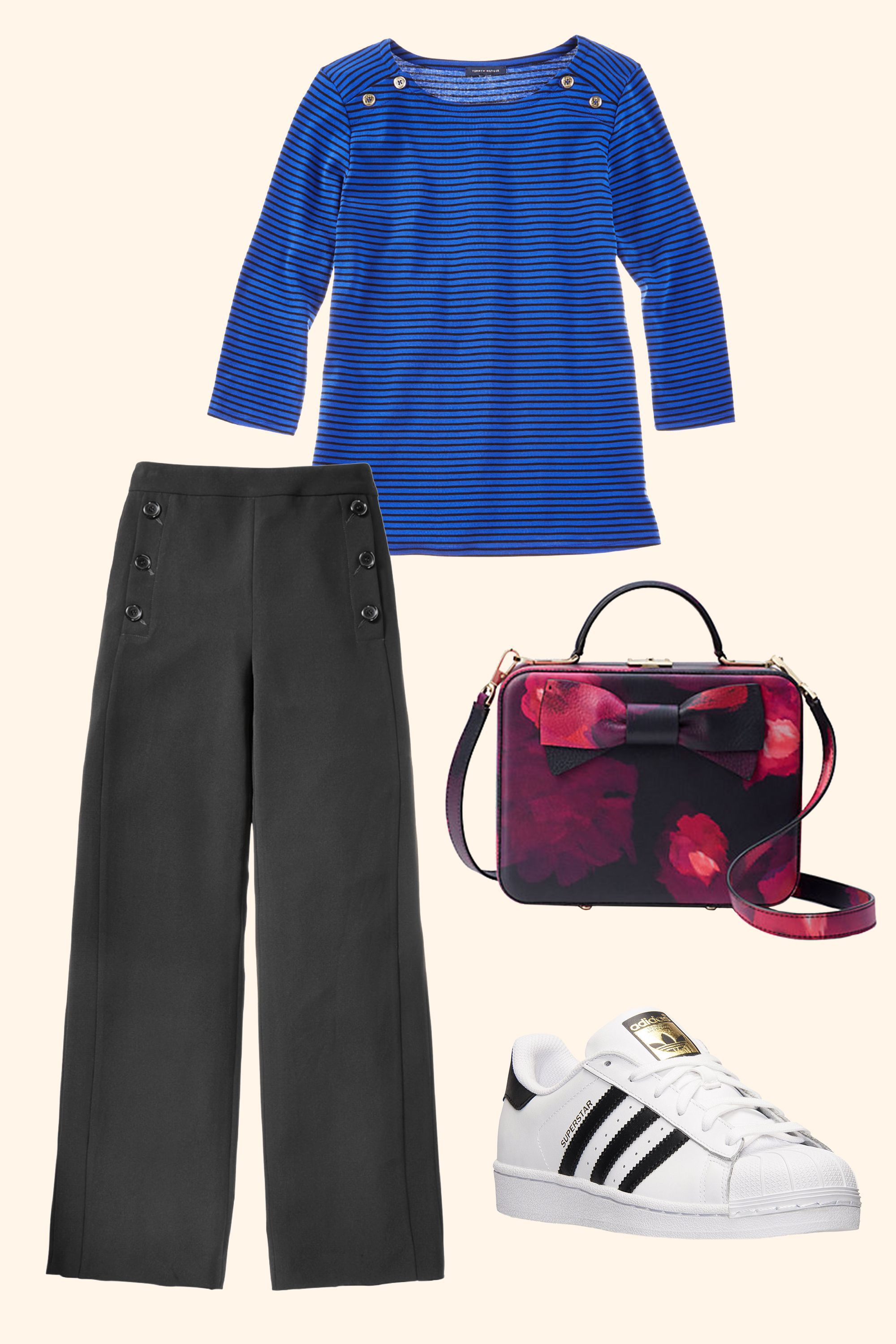 "<p>Wide leg sailor pants and a striped boatneck top are a no-brainer. Sporty, striped kicks and a lushly-printed box bag keep the combo anchored in modern day.  </p><p><strong data-redactor-tag=""strong"">BUY IT:</strong><span class=""redactor-invisible-space"" data-verified=""redactor"" data-redactor-tag=""span"" data-redactor-class=""redactor-invisible-space""> Tommy Hilfiger shirt, $50; <a href=""https://www.macys.com/shop/product/tommy-hilfiger-plus-size-cotton-striped-chambray-back-top?ID=4865735"" target=""_blank"" data-tracking-id=""recirc-text-link"">macys.com</a>. Kate Spade bag, $598; <a href=""https://www.katespade.com/products/madison-knollwood-street-rose-debra/PXRU7616.html?cgid=ks-handbags-satchels&dwvar_PXRU7616_color=098#start=37&cgid=ks-handbags-satchels"" target=""_blank"" data-tracking-id=""recirc-text-link"">katespade.com</a>. Adidas shoes, $80; <a href=""http://www.adidas.com/us/superstar-shoes/C77153.html?cm_mmc=AdieSEM_Feeds-_-GoogleProductAds-_-NA-_-C77153&cm_mmca1=US&cm_mmca2=NA&kpid=C77153&gclid=EAIaIQobChMIqqTD6NHh1QIVlIJpCh2poAX0EAQYASABEgLHwvD_BwE&gclsrc=aw.ds&dclid=CLPP4OrR4dUCFQa1swod_GEMWA"" target=""_blank"" data-tracking-id=""recirc-text-link"">adidas.com</a>. DKNY pants, $109; <a href=""https://www.macys.com/shop/product/dkny-crepe-wide-leg-pants?ID=4945307&cm_mmc=carat_dis-_-sep2_nopro_auth_rtw_ffash_tentpole_display_w7080033_11696-_-1339154-_-09052017_10052017"" target=""_blank"" data-tracking-id=""recirc-text-link"">macys.com</a></span></p>"