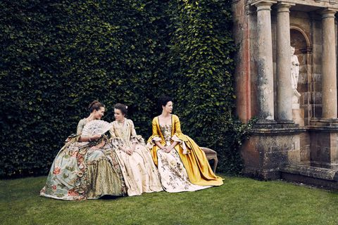"<p>The department is comprised of multiple rooms, all loaded with gowns and shoes. It's so big and complex that costumer designer <a href=""http://www.marieclaire.com/culture/a28610/outlander-season-three-set-visit/"" target=""_blank"" data-tracking-id=""recirc-text-link"">Terry Dresbach started a digital inventory</a> system called ""Mother"" to keep track of everything.</p>"