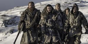 Game of Thrones season 7, episode 6:  Tormund Giantsbane, Jon Snow, Ser  Jorah Mormont, Thoros of Myr and Gendry set out beyond the Wall