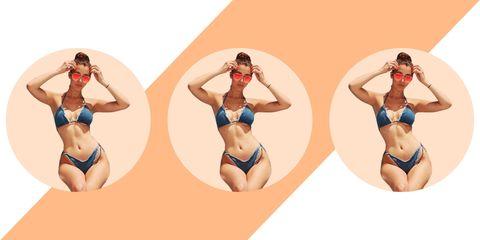 Clothing, Leg, Bikini, Swimsuit bottom, Swimsuit top, Human leg, Joint, Brassiere, Waist, Undergarment,