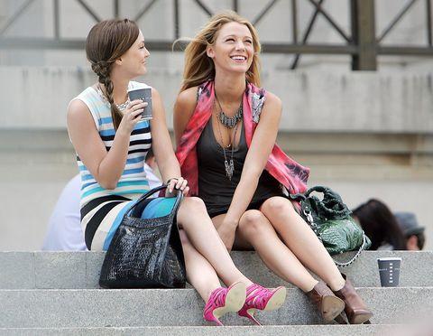 People, Sitting, Street fashion, Leg, Pink, Fashion, Beauty, Human leg, Footwear, Friendship,