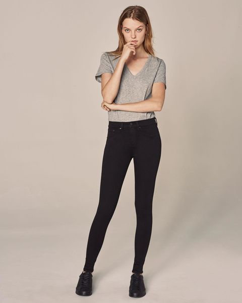 Clothing, Waist, Black, Shoulder, Tights, Standing, Fashion model, Leggings, Jeans, Leg,