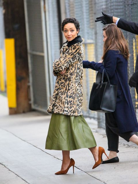 <p>However, if you're like Ruth Negga and have a short walk, trophy outerwear at the ready, and/or a fancy event, by all means—pair all of the above with a long, full skirt for a most ladylike effect.</p>