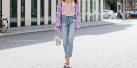 Clothing, Jeans, Pink, Street fashion, Denim, Fashion, Blazer, Footwear, Waist, Shoe,