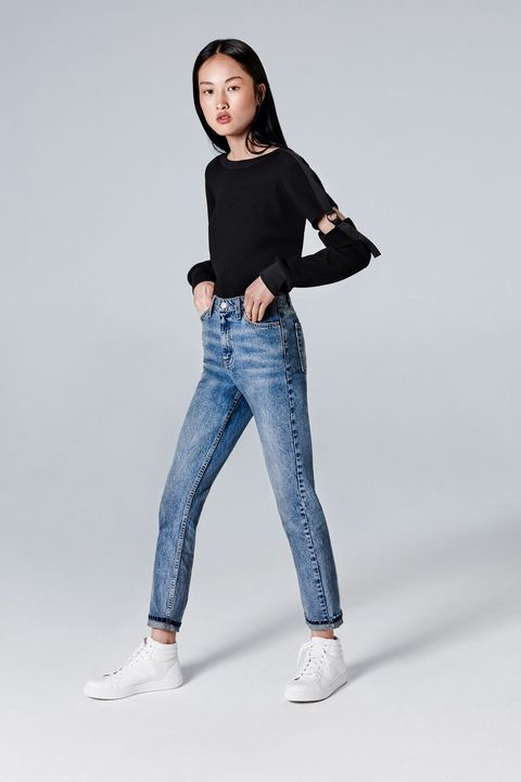 Clothing, Jeans, Blue, White, Shoulder, Denim, Black, Waist, Joint, Leg,