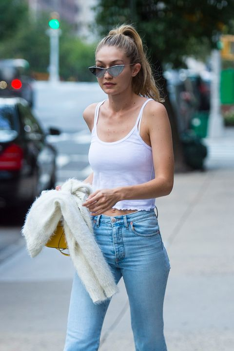 Jeans, White, Clothing, Denim, Street fashion, Eyewear, Shoulder, Beauty, Sunglasses, Blond,