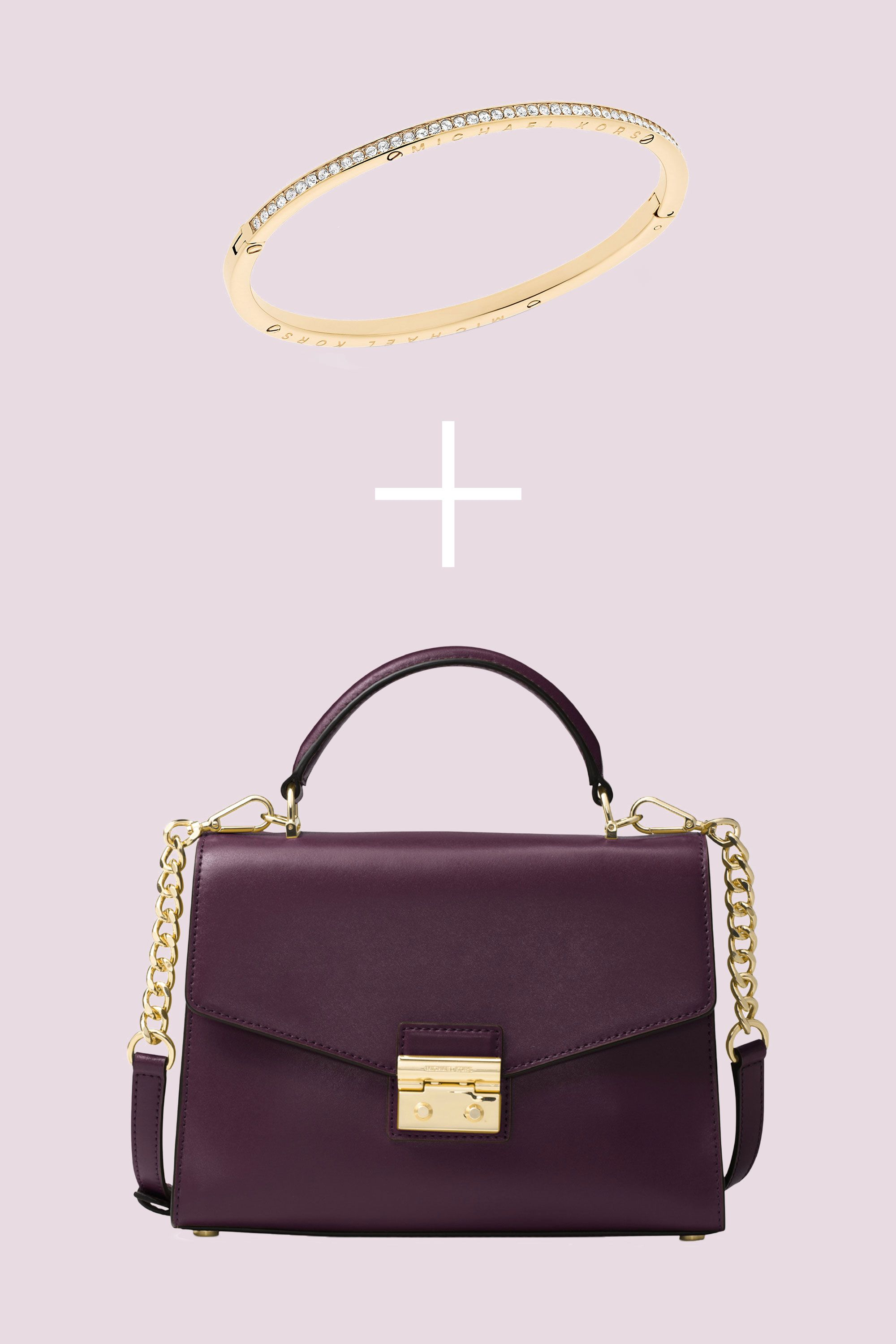 """<p>Trade in your basicbag for a structured satchel in an unexpected merlot hue. When paired with a sleekbangle, the look is sophisticated and elegant—and surprisinglyversatile, too. </p><p><strong data-redactor-tag=""""strong"""" data-verified=""""redactor"""">BUY IT: </strong>Michael Kors bangle, $95; <a href=""""https://www.macys.com/shop/product/michael-kors-pave-hinged-bangle-bracelet?ID=4436262&cm_mmc=carat_dis-_-sep2_nopro_auth_rtw_ffash_tentpole_display_w7080033_11696-_-1339154-_-09052017_10052017"""" target=""""_blank"""" data-tracking-id=""""recirc-text-link"""">macys.com</a>. MICHAEL Michael Kors satchel, $268; <a href=""""https://www.macys.com/shop/product/michael-michael-kors-sloan-medium-top-handle-satchel?ID=4767770&CategoryID=26846&cm_mmc=carat_dis-_-sep2_nopro_auth_rtw_ffash_tentpole_display_w7080033_11696-_-1339154-_-09052017_10052017"""" target=""""_blank"""" data-tracking-id=""""recirc-text-link"""">macys.com</a><br></p>"""