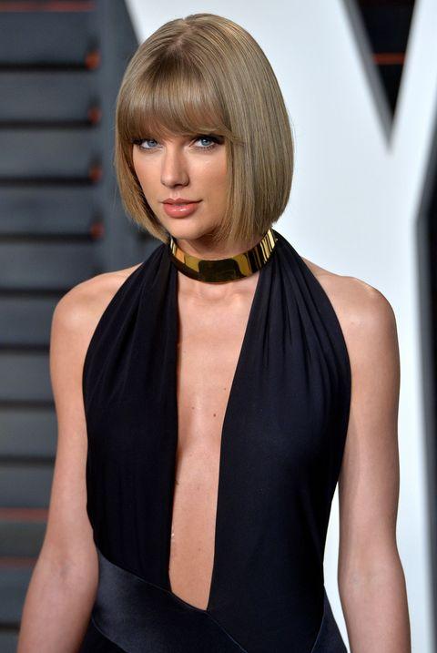 Hair, Hairstyle, Clothing, Black, Blond, Bob cut, Bangs, Shoulder, Beauty, Dress,