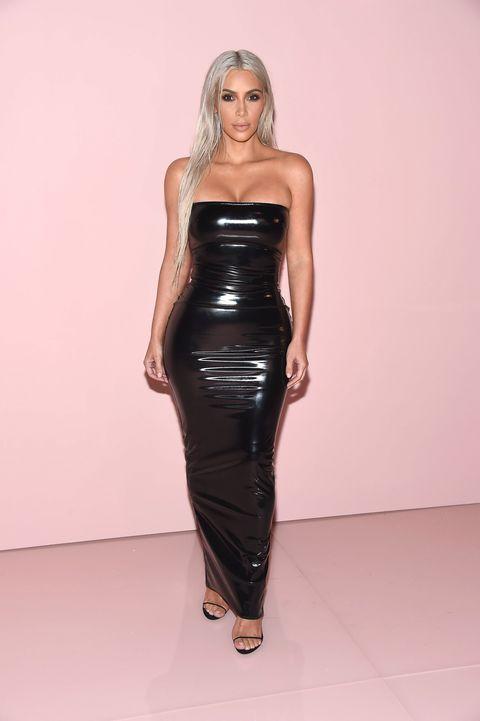 Clothing, Fashion model, Dress, Black, Latex clothing, Strapless dress, Shoulder, Fashion, Waist, Blond,