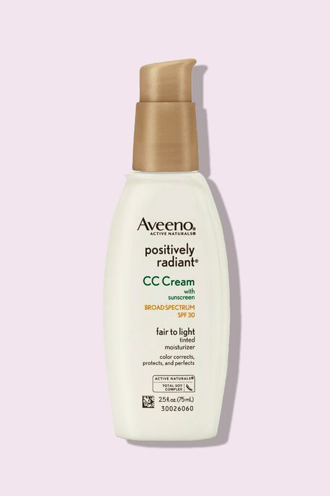 """<p>You can't talk CC creams without including this cult-favorite from Aveeno: Filled with brightening soybean extract and hydrating glycerin, the light-reflecting formula gives skin a dewy finish without looking or feeling oily.</p><p><i data-redactor-tag=""""i"""">Aveeno Positively Radiant CC Cream SPF 30, $13</i></p><p><strong data-redactor-tag=""""strong"""">BUY IT: <a href=""""https://www.amazon.com/Aveeno-Positively-Radiant-Spectrum-Correction/dp/B003O7IBUW?th=1"""">amazon.com</a>.</strong></p>"""