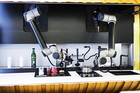 "<p>Look, Ma, no hands! After a long day at the office, kick back while Moley's robotic arms create a meal from an archive of 200-plus recipes, whether you're craving Michelin-starred cuisine or Granny's cookies. The price is steep—very steep at a reported $75,000—but reviews claim the reward is deliciously relaxing.&nbsp&#x3B;</p><p><em data-redactor-tag=""em"" data-verified=""redactor"">Available 2018</em></p><p><strong data-redactor-tag=""strong"" data-verified=""redactor"">BUY IT: <a href=""http://www.moley.com/"" target=""_blank"" data-tracking-id=""recirc-text-link"">moley.com</a>.</strong></p>"