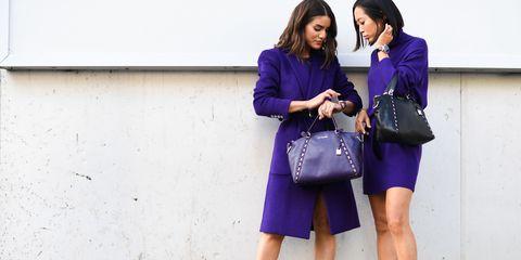Clothing, Purple, Street fashion, Cobalt blue, Fashion, Blue, Violet, Electric blue, Footwear, Dress,