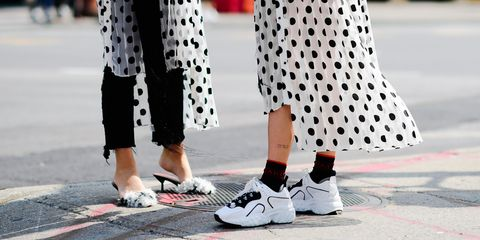 White, Footwear, Street fashion, Polka dot, Pattern, Shoe, Black-and-white, Fashion, Leg, Design,