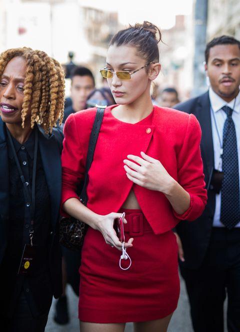 Red, Street fashion, Eyewear, People, Fashion, Hairstyle, Glasses, Human, Shoulder, Sunglasses,