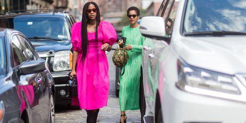 Street fashion, Fashion, Pink, Vehicle, Car, Automotive design, Mid-size car, Luxury vehicle, Outerwear, Dress,