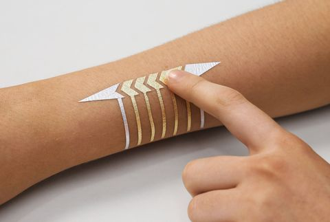 "<p>Take your temporary-tattoo game to new levels. Made of gold metal leaf, DuoSkin sticks to your skin and can serve as a trackpad to control your music player, changes colors based on your body temperature, and can even power small LED lights within the design of your choosing. DuoSkin is currently a research project between MIT Media Lab and Microsoft Research, but we're praying it makes its way to shelves before Coachella 2018.&nbsp;</p><p><span data-redactor-tag=""span"" data-verified=""redactor""></span><em data-redactor-tag=""em"" data-verified=""redactor"">Not yet available</em></p><p><strong data-redactor-tag=""strong"" data-verified=""redactor"">MORE INFO: <a href=""http://duoskin.media.mit.edu/"" target=""_blank"" data-tracking-id=""recirc-text-link"">duoskin.media.mit.edu</a>.&nbsp;</strong></p>"