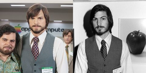 """<p>Kutcher is the ultimate doppelgänger portraying former Apple CEO Steve Jobs in the 2013 film&nbsp;<em data-redactor-tag=""""em"""">Jobs. </em><span class=""""redactor-invisible-space"""" data-verified=""""redactor"""" data-redactor-tag=""""span"""" data-redactor-class=""""redactor-invisible-space""""></span></p>"""