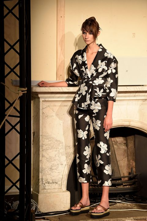 <p>This season, the London-based Italian designer&nbsp;showed Japanese-inspired platforms with her arty separates. </p>