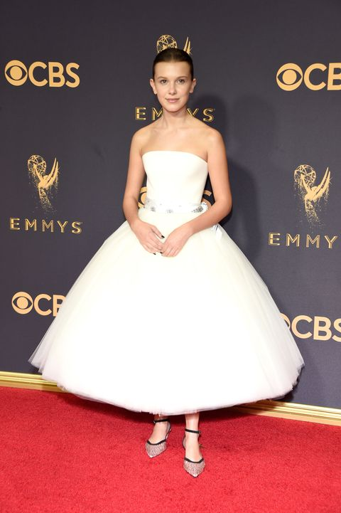 <p>Millie Bobby Brown in Calvin Klein by Appointment at the 2017 Emmys</p>