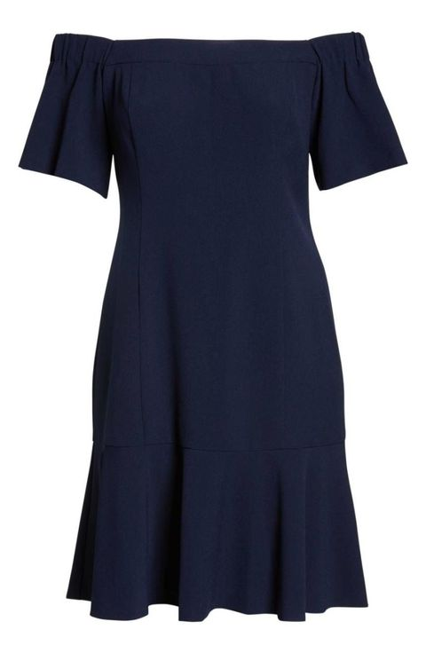 Clothing, Black, Blue, Dress, Sleeve, Day dress, Shoulder, Cocktail dress, Joint, Little black dress,