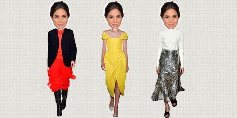 Fashion model, Clothing, Fashion, Yellow, Dress, Fashion design, Footwear, Cocktail dress, Neck, Formal wear,
