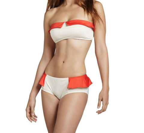 Skin, Shoulder, Swimsuit bottom, Waist, Textile, Joint, Brassiere, White, Bikini, Undergarment,