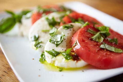 Food, Dishware, Ingredient, Cuisine, Dish, Vegetable, Plum tomato, Tomato, Bush tomato, Plate,