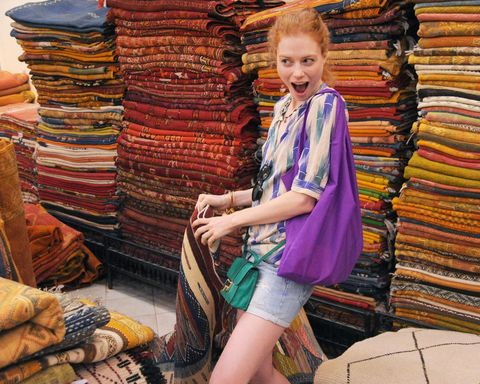 Textile, Public space, Bag, Human settlement, Market, Slipper, Marketplace, Selling, Retail, Sandal,