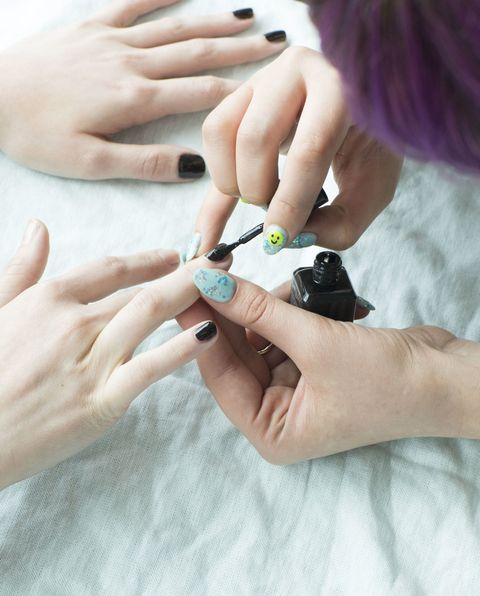 Finger, Skin, Hand, Nail, Thumb, Wrist, Gadget, Nail care, Mobile phone, Manicure,