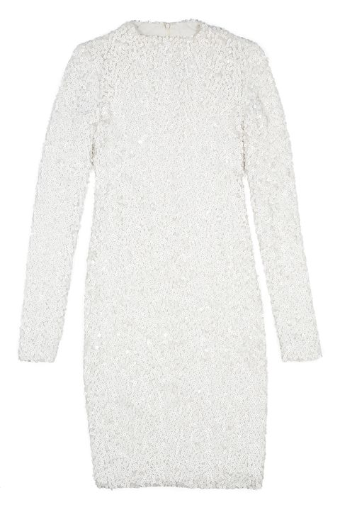 the adrienne leather sequin dress in white