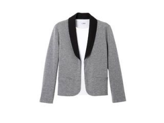gray and black tuxedo jacket