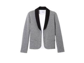 gray and black tuxedo jacket