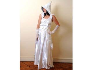 wedding gown with goblin hood