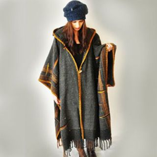 dark gray handwoven poncho dress